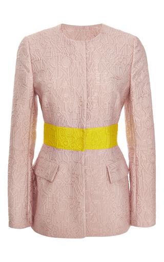 Alphabet pink jacquard safari jacket by MARY KATRANTZOU Preorder Now on Moda Operandi