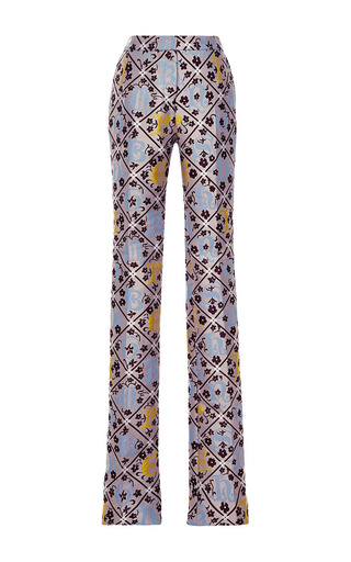 Forget me not jacquard safari trousers by MARY KATRANTZOU Now Available on Moda Operandi