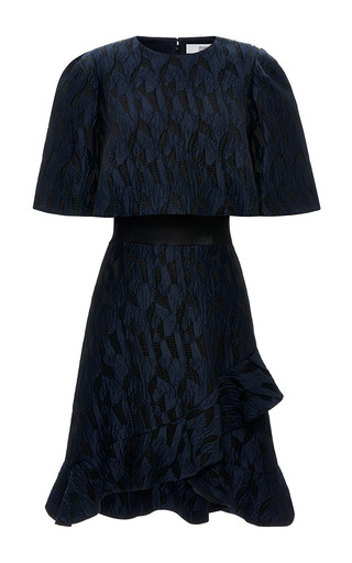 Ruffled hem jacquard and satin dress by PRABAL GURUNG Available Now on Moda Operandi