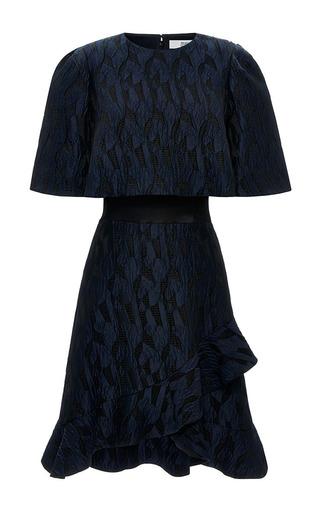 Ruffled hem jacquard and satin dress by PRABAL GURUNG Available Now on Moda Operandi