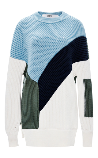 Color-block ribbed wool sweater by PRABAL GURUNG Available Now on Moda Operandi