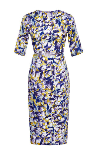 Floral-print cut-out crepe dress by SUNO Available Now on Moda Operandi