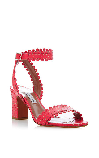 Leticia perforated-leather sandals in coral by TABITHA SIMMONS Now Available on Moda Operandi