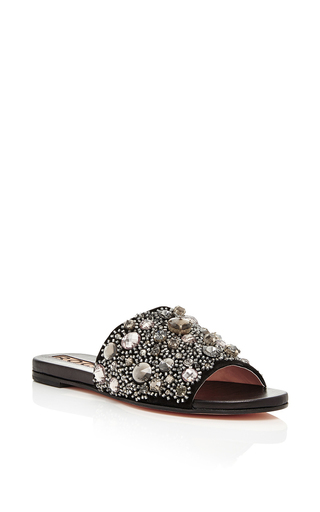 Embellished flat mules in black by ROCHAS Available Now on Moda Operandi