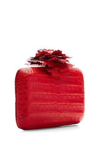 Red Crocodile Skin Clutch by Nancy Gonzalez for Preorder on Moda Operandi