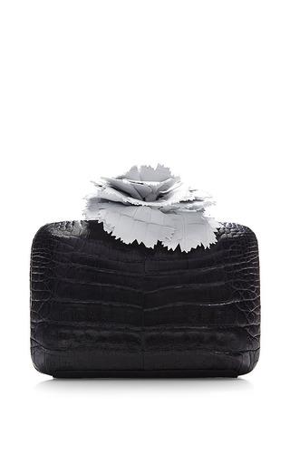 Monochrome Crocodile Skin Clutch by Nancy Gonzalez for Preorder on Moda Operandi