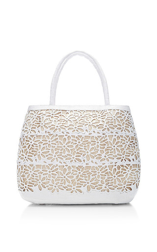 Nancy Gonzalez - White Crocodile Skin And Raffia Tote