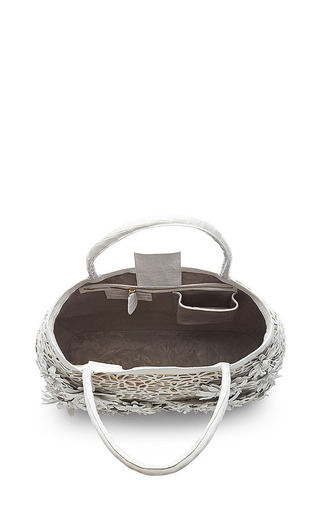 White Crocodile Skin And Raffia Tote by Nancy Gonzalez for Preorder on Moda Operandi