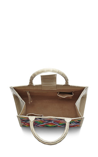 Multi Colored Crocodile Skin Tote by Nancy Gonzalez for Preorder on Moda Operandi