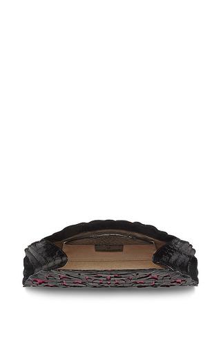 Black And Pink Crocodile Skin Clutch by Nancy Gonzalez for Preorder on Moda Operandi