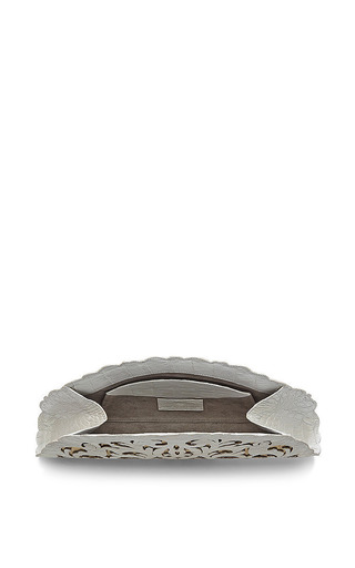 White And Gold Crocodile Skin Clutch by Nancy Gonzalez for Preorder on Moda Operandi