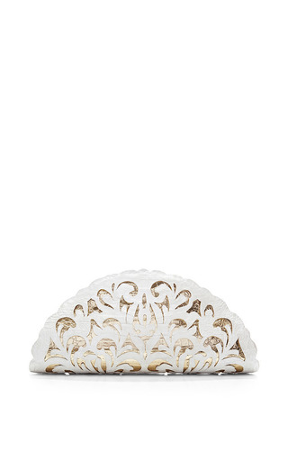 White And Gold Crocodile Skin Clutch by Nancy Gonzalez for Preorder on Moda Operandi