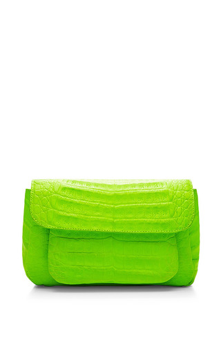 Neon Lime Crocodile Skin Shoulder Bag by Nancy Gonzalez for Preorder on Moda Operandi