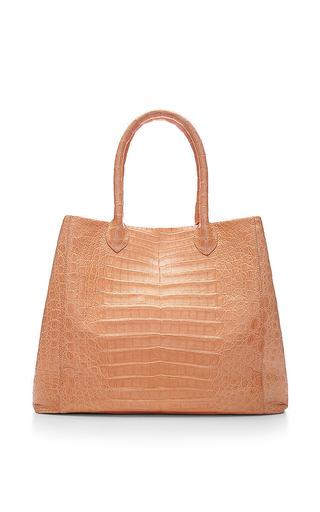 Two In One Peach Crocodile Skin Tote by NANCY GONZALEZ for Preorder on Moda Operandi