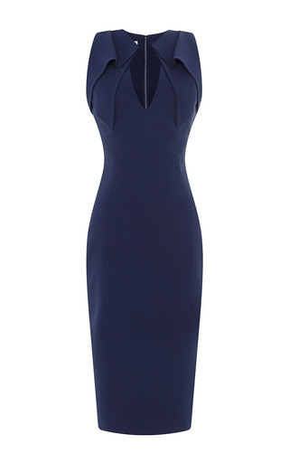 Folded collar stretch-crepe dress by ANTONIO BERARDI Available Now on Moda Operandi