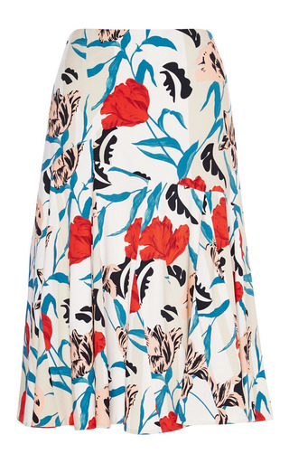 Floral Print Seamed Crepe Skirt by THAKOON Now Available on Moda Operandi