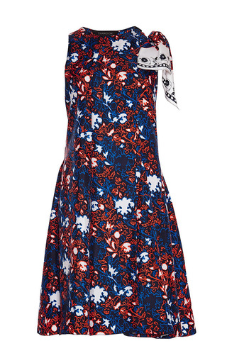 Knotted shoulder printed silk dress by THAKOON Available Now on Moda Operandi
