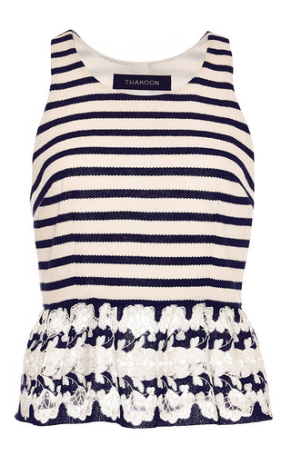 Striped lace-trimmed top by THAKOON Now Available on Moda Operandi