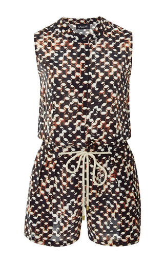 Daisy printed washed-silk romper by SALONI Now Available on Moda Operandi
