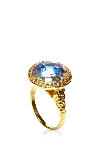 Olivia Button Ring In Blue by Larkspur & Hawk for Preorder on Moda Operandi