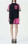 Black Skirt With Neon Pink Godet by Christopher Kane for Preorder on Moda Operandi