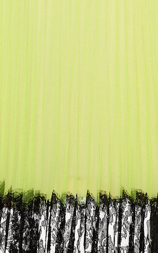 Neon Yellow Pleated Tulle Skirt by Christopher Kane for Preorder on Moda Operandi
