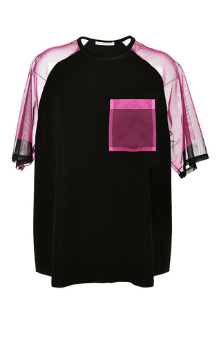 Black and neon pink contrast tulle top by CHRISTOPHER KANE Preorder Now on Moda Operandi