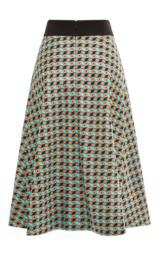 Fantasy Brown And Blue Pencil Skirt by Fausto Puglisi for Preorder on Moda Operandi