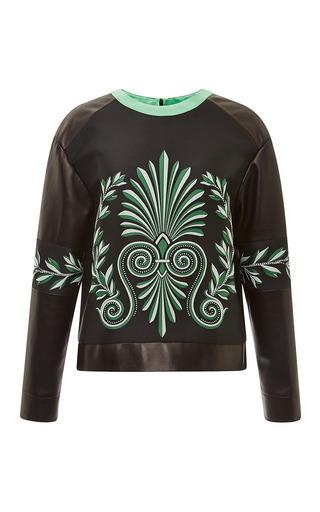 Black leather sweatshirt with greek print by FAUSTO PUGLISI Preorder Now on Moda Operandi