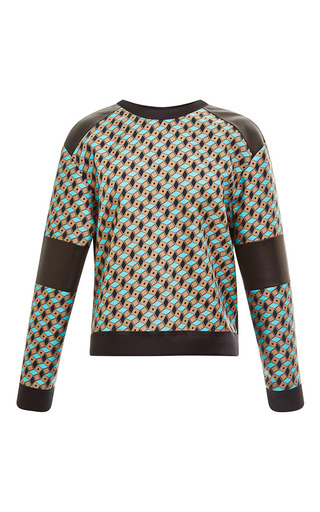 Fantasy brown and blue leather sweatshirt by FAUSTO PUGLISI Preorder Now on Moda Operandi