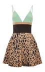 Leopard And Green Printed Mini Dress by Fausto Puglisi for Preorder on Moda Operandi