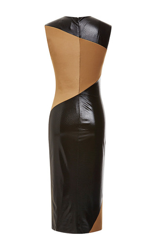 Fausto Puglisi - Black And Brown Jersey Inlay Dress