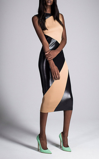 Black And Brown Jersey Inlay Dress by Fausto Puglisi for Preorder on Moda Operandi