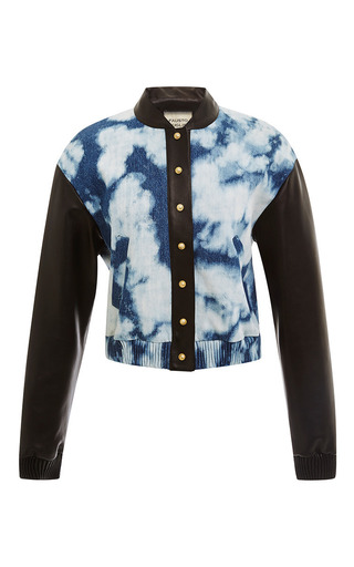 Tie dye denim and leather bomber jacket by FAUSTO PUGLISI Preorder Now on Moda Operandi