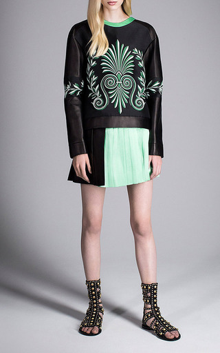 Black And Green Pleated Mini Skirt by Fausto Puglisi for Preorder on Moda Operandi