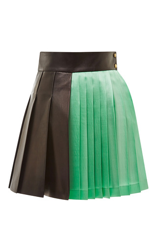 Black And Green Pleated Mini Skirt by Fausto Puglisi Now Available on Moda Operandi