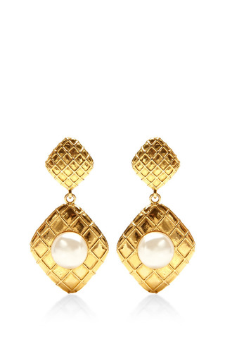 1980S Chanel Gold Clip On Earrings by House of Lavande for Preorder on Moda Operandi