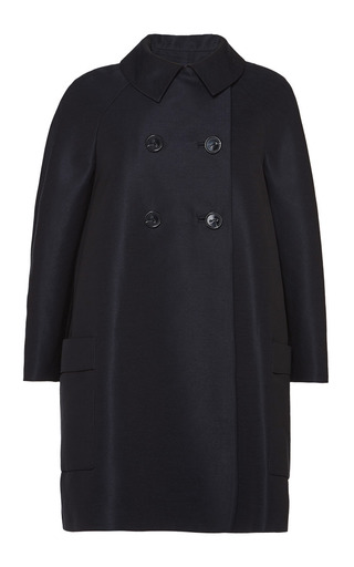 Navy swing back pea coat by MARTIN GRANT Preorder Now on Moda Operandi