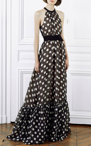Dots Black Ivory Polka Dot Gown With Ruffle Bottom by Martin Grant for Preorder on Moda Operandi