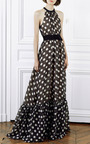 Martin Grant - Dots Black Ivory Polka Dot Gown With Ruffle Bottom