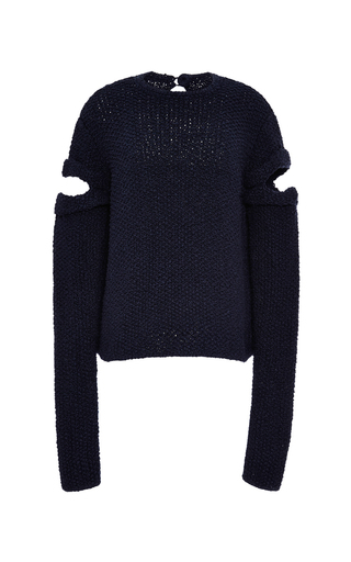 Hand-knit cut-out silk sweater by ROSIE ASSOULIN Available Now on Moda Operandi