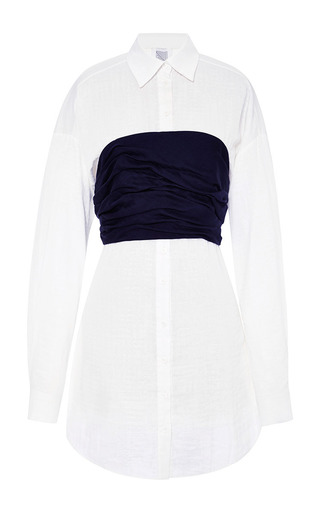 Lucy long cotton-poplin and ruched silk top by ROSIE ASSOULIN Available Now on Moda Operandi