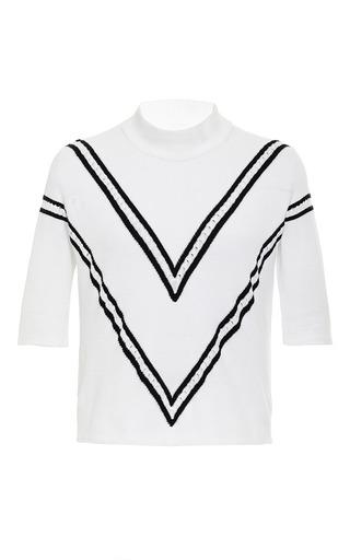 Chevron toto knit turtleneck in white by TANYA TAYLOR Preorder Now on Moda Operandi