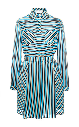 Sydney grosgrain striped shirt dress by TANYA TAYLOR Now Available on Moda Operandi