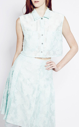 White And Mint Genevieve Skirt by TIMO WEILAND for Preorder on Moda Operandi