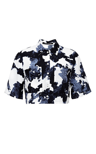 Navy and white maya blouse by TIMO WEILAND Preorder Now on Moda Operandi