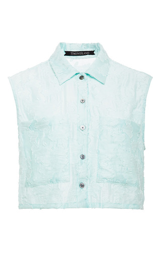 White and mint sleeveless maya blouse by TIMO WEILAND Preorder Now on Moda Operandi