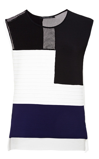 White black and navy colorblock shell by TIMO WEILAND Preorder Now on Moda Operandi