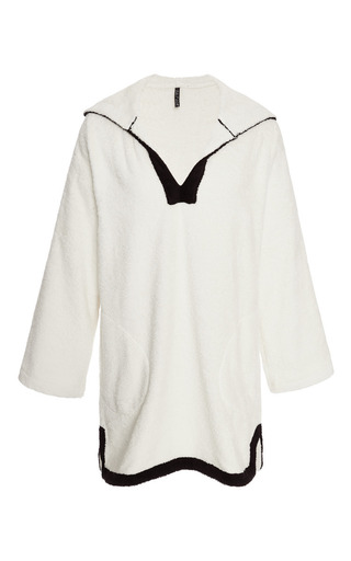 Hooded terry tunic in off-white by LISA MARIE FERNANDEZ Now Available on Moda Operandi