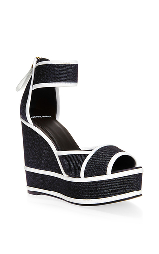 Graphic denim wedges by PIERRE HARDY Available Now on Moda Operandi